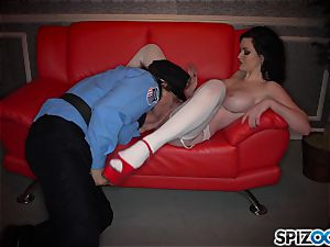 wild dark haired Kendall Karson plumbed by policeman in the stripclub