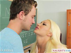 blonde educator Summer Brielle plow in classroom