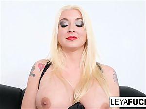 torrid gigantic tittie blonde Leya gets her rump pummeled