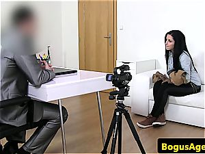 Czech babe romped from behind at pornography audition