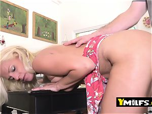 super hot towheaded milf is seduced into pulling her dress up to get fucked