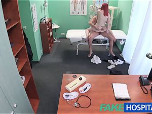 FakeHospital super-cute red-haired rides physician for cash
